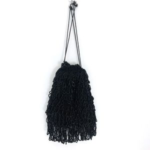 Vintage Bags - Vintage Beaded Black Mini Drawstring Pouch Purse